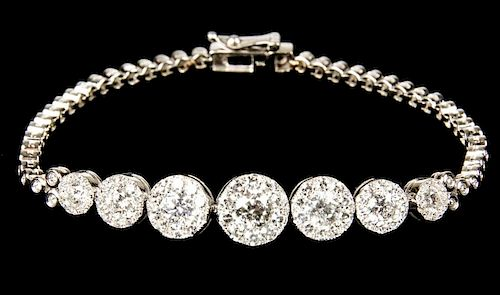 Ladies 14K White Gold Diamond Bracelet