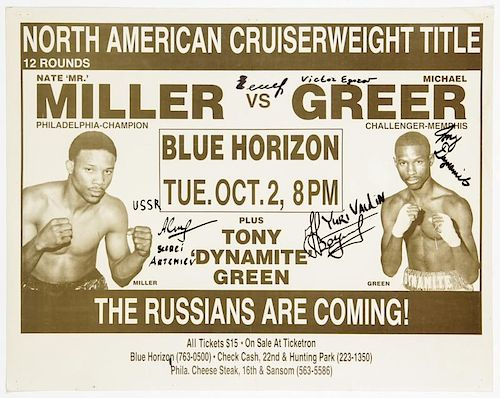 Vintage Russians Signed 1990 Blue Horizon Boxing Poster