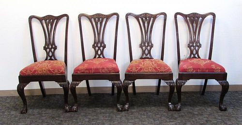 Four Chippendale Style Side Chairs