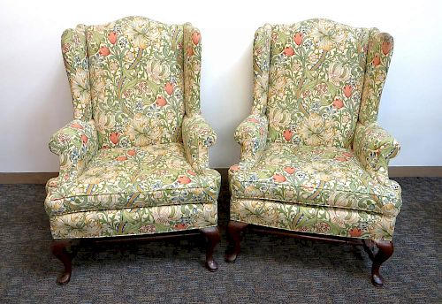 Pair Of Queen Ann Wing Back Chairs