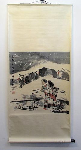 Scroll Of Tibetan Women In The Snow