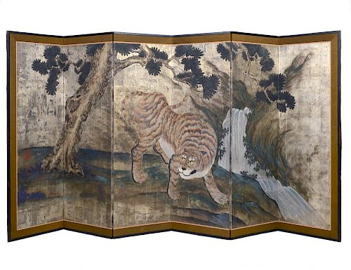 """SIX PANEL SILVERED PAPER """"TIGER"""" SCREEN"""