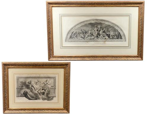 TWO CLASSICAL PRINTS BY JEAN-BAPTISE MASSE (French. 1687-1787)