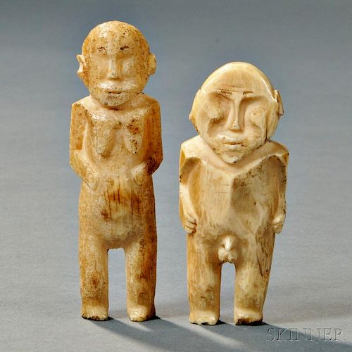 Two Polynesian Bone Figures