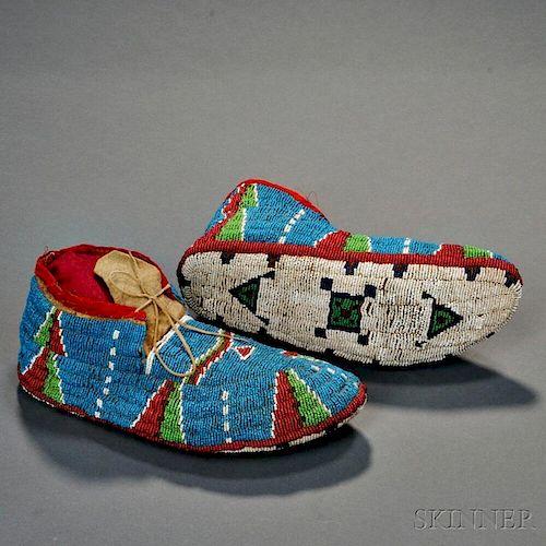 Lakota Fully Beaded Hide Moccasins