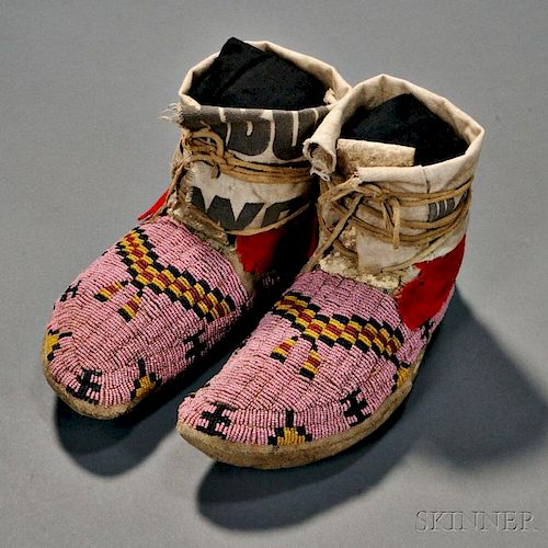 Pair of Northern Plains Beaded Moccasins