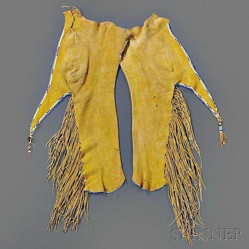 Pair of Kiowa Beaded Hide Boy's Leggings