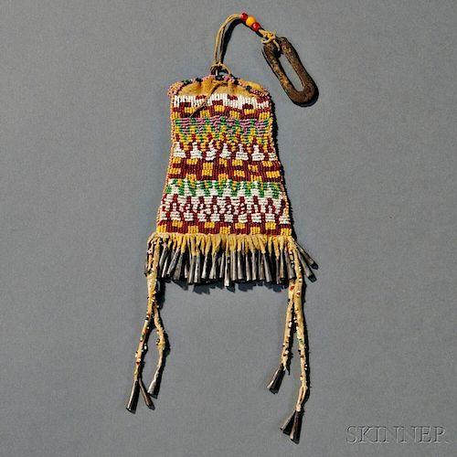 Apache Beaded Hide Strike-a-Light Bag with Metal Striker