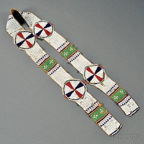 Lakota Beaded Hide Blanket Strip