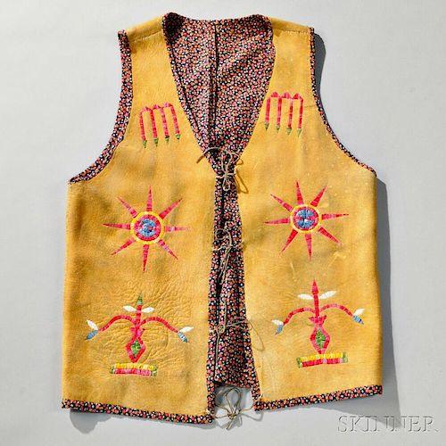 Plains Quilled Hide Man's Vest