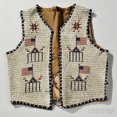 Lakota Beaded Hide Man's Vest