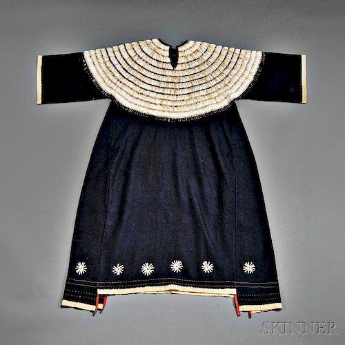 Plains Blue Trade Cloth and Dentalium Shell Woman's Dress