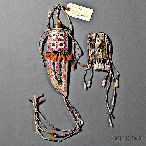 Sioux Quilled Hide Knife Sheath and Matching Belt Pouch