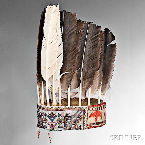 Rare and Important Eastern Ojibwa (Saulteau) War Chief's Turban-Headdress