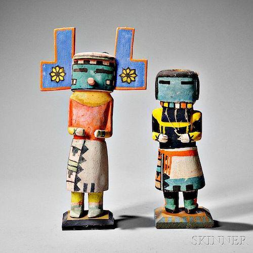Two Hopi Polychrome Carved Wood Kachinas