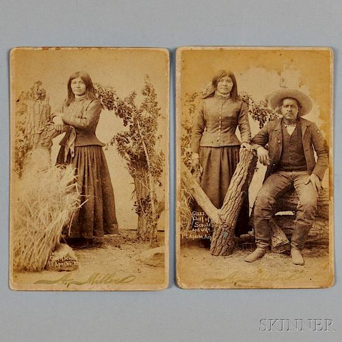 Two Photographs of Apache Indians by A. Milland