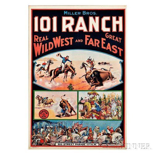 Framed Miller Bros. 101 Ranch Wild West Show Poster