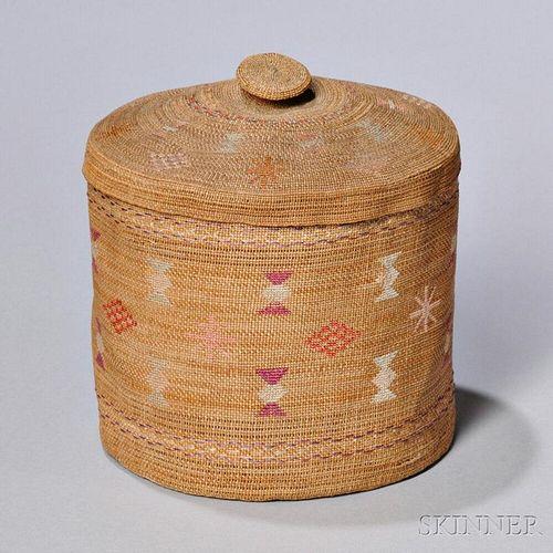 Attu Polychrome Twined Lidded Basket