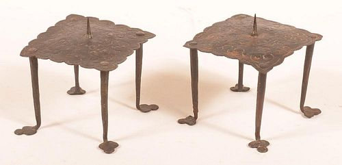 Pair of Oriental 18th Cent. Candle Holders.
