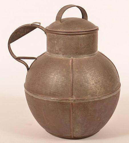 Large Tin Globular Form Covered Vessel.