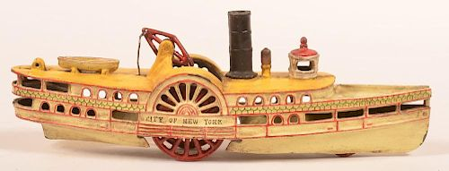 Painted Cast Iron Paddle Wheel Boat Pull Toy.