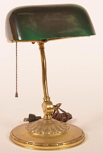 Brass Desk Lamp with Green Overlay Shade.