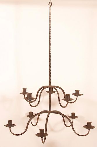Wrought Iron 10 Arm Candle Chandelier.