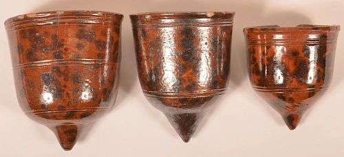 3 PA 19th Cent. Mottled Redware Wall Pockets.