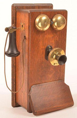 American Tel & Tel Co. Antique Oak Wall Phone.