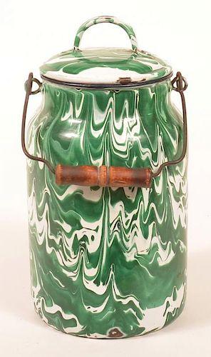 Granite Ware Green Large Swirl Milk Can.