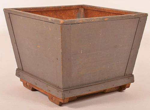 19th century gray painted wooden planter with tapered sides