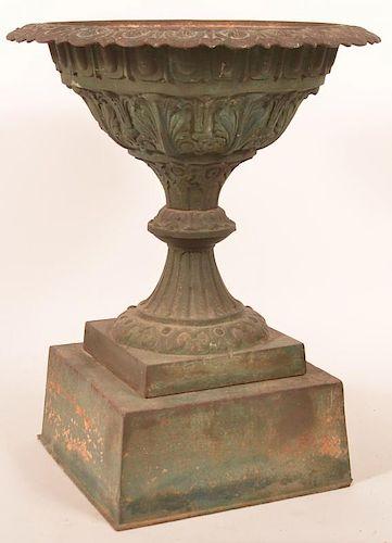 19th century cast iron 2-part Victorian urn
