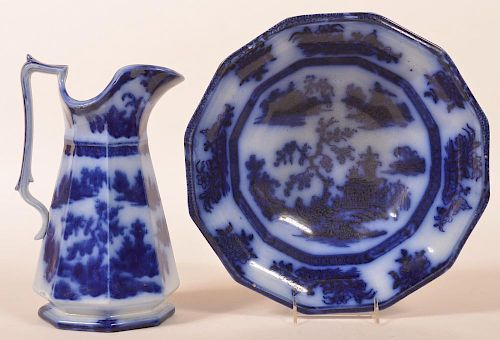 Flow Blue Chapoo Pattern Wash Bowl & Pitcher.