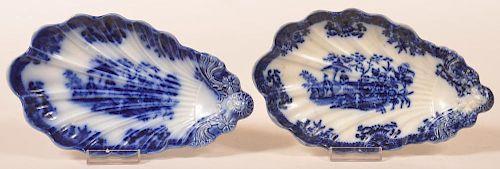 "2 Flow Blue China ""Amoy"" Pattern Relish Dishes."