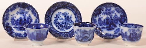 3 Flow Blue Ironstone China Cups & Saucers.