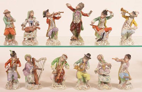 12 Pc. Dresden German Porcelain Monkey Band.