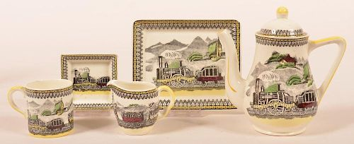 """Five Pieces of """"Railway"""" Pattern China."""