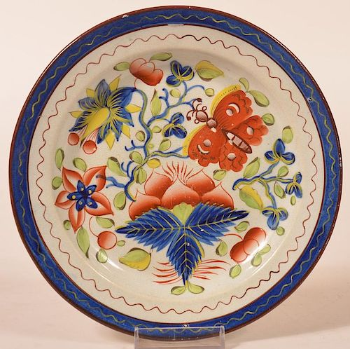 "Gaudy Dutch Butterfly Pattern. China 7-3/8"" Plate."