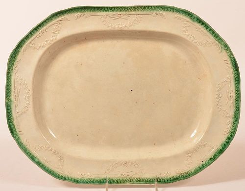 Large Leeds Green Feather Edge Platter.