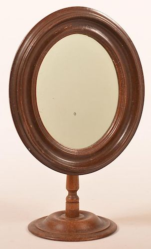 Victorian Walnut Adjustable Oval Mirror.