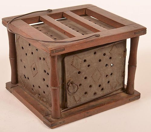 PA 19th Cent. Punched Tin Foot Warmer.