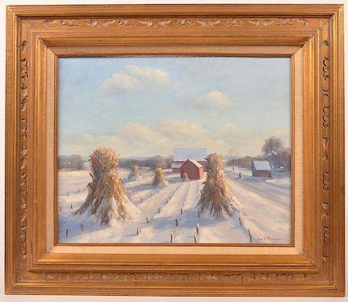 John E. Berninger Oil on Board Farm Scene.