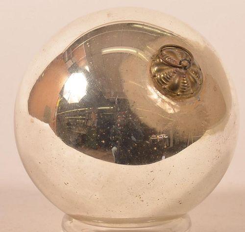 Silver Blown Glass Ball Form German Kugel.