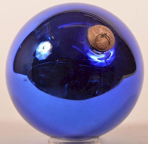 Cobalt Blue Glass Ball Form German Kugel.
