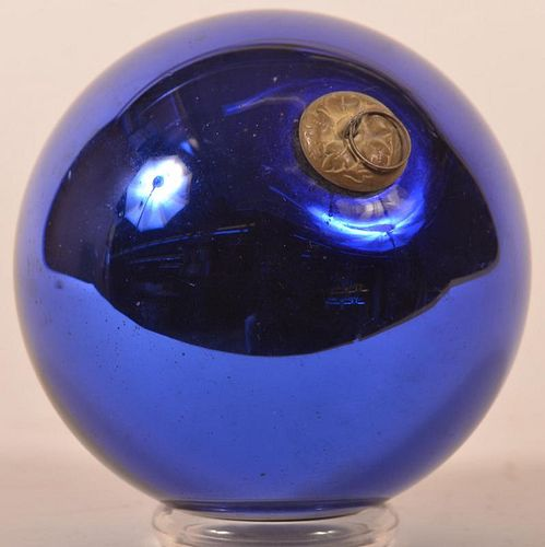 Cobalt Blue Glass Ball Form German Kugel.
