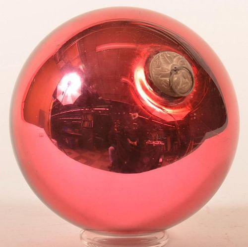 Ruby Red Blown Glass Ball Form German Kugel.