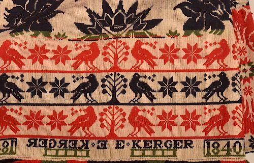 E. Kerger 1840 Pennsylvania Coverlet.