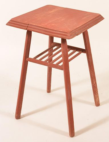 Softwood Stand w/ Red Paint & Pencil Post Legs.