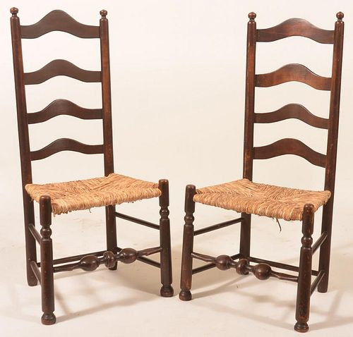 Pair of Delaware Valley ladder-back Side chairs.