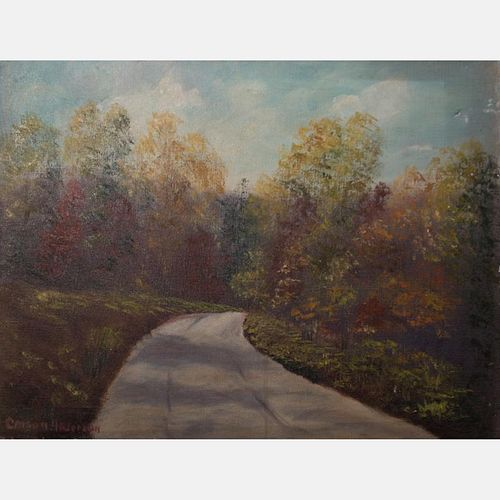 Carson Anderson (20th Century) Country Road, Oil on canvas,